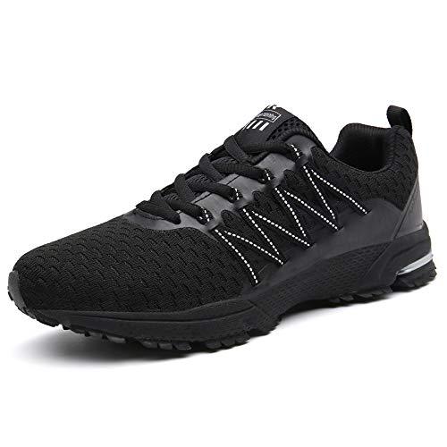 SOLLOMENSI  Laufschuhe Damen Herren Sportschuhe Straßenlaufschuhe Sneaker Joggingschuhe Turnschuhe, 43 EU, Schwarz1
