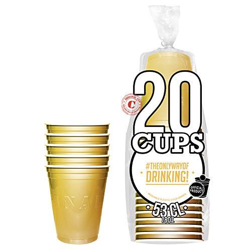20er Pack Offiziellen Original Gold Cups | Goldene 53cl Becher | Beer Pong | Premium Qualität | Becher aus wiederverwendbaren Plastik | Spülmaschinenfest | OriginalCup®