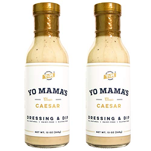 keto salad dressings Gourmet Natural Classic Caesar Dressing and Dip by Yo Mama's Foods - Pack of (2) - Low Carb, Low Sodium, and Gluten-Free