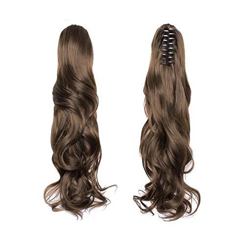 Synthétique Clip Bouclés Queue De Cheval Extensions Longue Couche Épaisse Queue De Cheval Morceau De Cheveux Clip En Extensions De Cheveux Pour Les Femmes-6A-24 Inch
