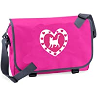 Bolsa de mensajero escolar o universitario con diseño de gato y corazón con purpurina Rosa fucsia