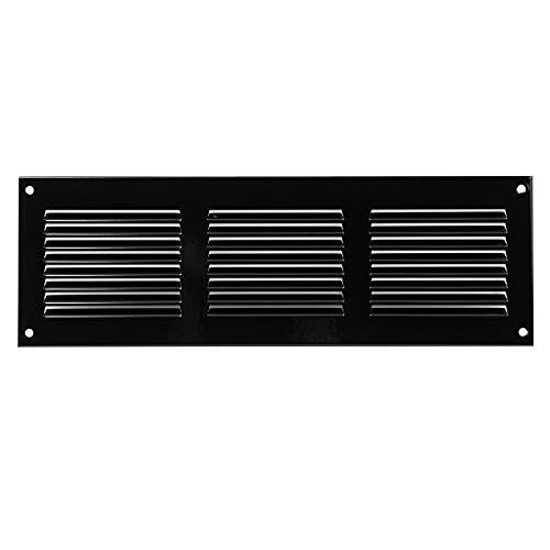 300x100mm Schwarz Lüftungsgitter mit Insektenschutz Abluftgitter Wetterschutzgitter Abluft Zuluft Metall Gitter