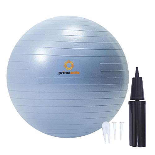 PRIMASOLE Exercise Ball for Balance Stability Fitness Workout Yoga Pilate at Home Offce & Gym with Inflator Pump (21.7 inch Pale Gray) PSS91NH014A