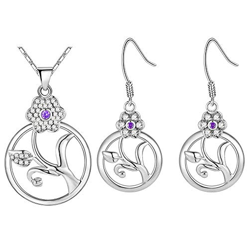 Pendant Elegant Women Jewelry Set White Gold Plated Necklace Earrings Set Openwork Circle-Shaped Flower Model Design with Zirconia Snake Chain 45CM