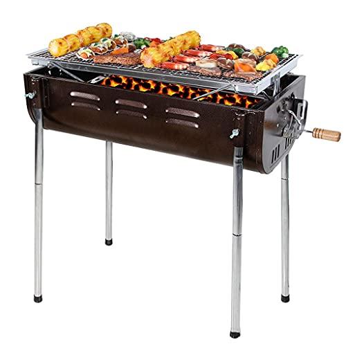 N\\C Home Tragbarer Holzkohlegrill, großer BBQ-Grill, einstellbar in fünf Gängen für 5-12 Personen Optionale elektrische Grillgabel 65 x 36,5 x 70 cm für Picknick im Freien LKWK