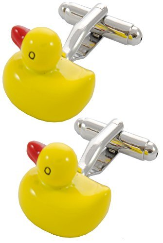 COLLAR AND CUFFS LONDON - Premium Cufflinks with Gift Box - Duck - Bath River Fun Toy Bathroom - Yellow and Red Colors