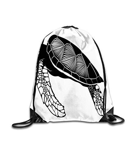 huatongxin Customized backpack Turtle Silhouette of Floating Tortoise Detailed HDrawn Cobblestone Inspired Design Black White Fitness beam backpack, sports backpack, school bag