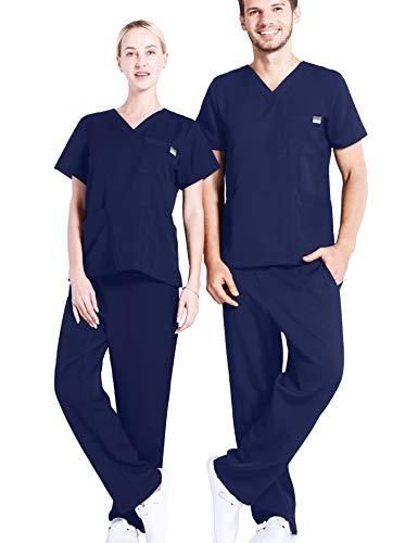 Enjoyoself DamenArbeitsanzug Pflege Uniform Set Berufsbekleidung Karneval Kostüm Arzt Fasching V Ausschnitt Top+Gummizug Schlupfhose