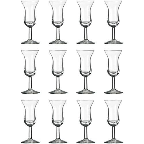 12 x Schnapsglas, Stamperl, Glas, transparent, 5 cl, Ø 5.3 cm, Höhe: 12 cm