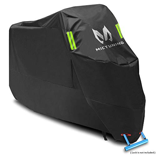 MICTUNING Waterproof Motorcycle Cover 210D Oxford Tear Proof Anti-Thief Lock Hole Fit for 104 inches XXL Motorcycles Compatible with Honda, Yamaha, Suzuki, Harley and More