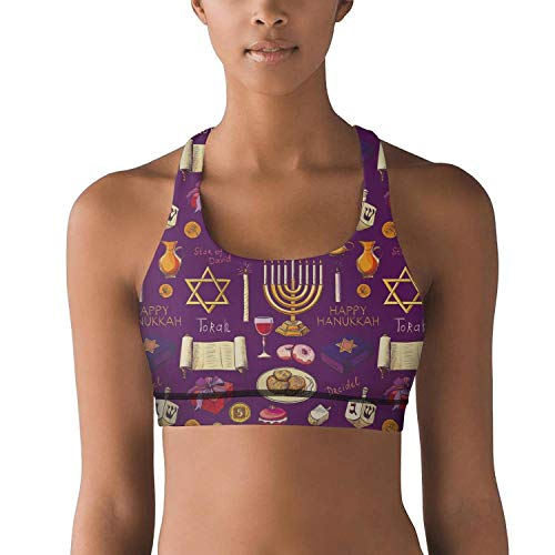 XIAOWUGO Women's Light Support Seamless Sports Bras with Removable Pads Hanukkah Symbols Yoga Bra Vest