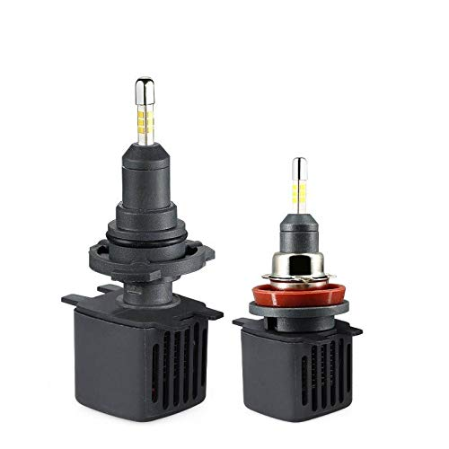 Yunjingchenman 2PCS H7 LED H4 lente del proyector H11 9006 HB4 9005 HB3 H8 H1 H9 lámparas LED linterna del coche Bulbos CSP chip 6500K 10000LM (Socket Type : 9006/HB4)