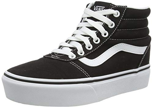 Vans Ward Hi Platform, Sneaker Mujer, Negro ((Canvas) Black/True White 1wx), 37 EU