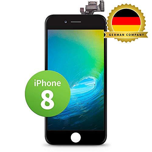 GIGA Fixxoo kompatibel mit iPhone 8 LCD Touchscreen Retina Display Ersatz in Schwarz für Einfache Reparatur, FaceTime Kamera (kein Set)
