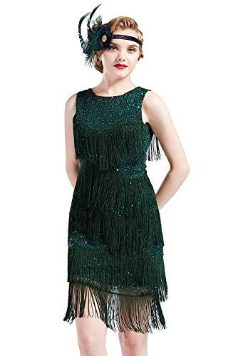 BABEYOND 1920s Flapper Dress Gatsby Fringed Dress Roaring 20s Beaded Dress Art Deco Dress for Gatsby Themed Party Prom (Dark Green, Small)