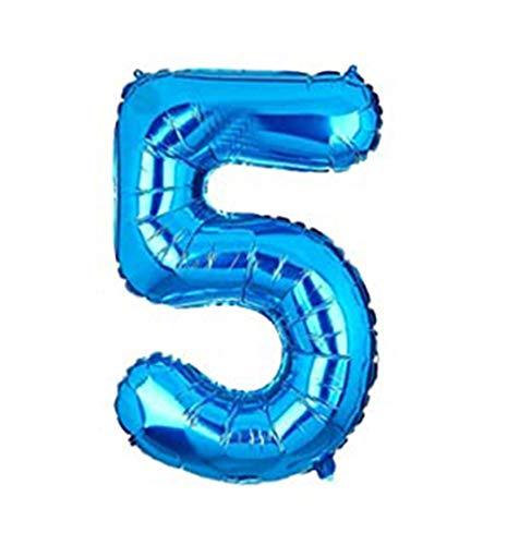 Globo Número Multicolor Decoración de Boda Aniversario Cumpleaños Suministros de Fiesta Happy Birthday para Adultos y Niños Apto para Helio 100CM (Azul (ELP-113), Número 5)