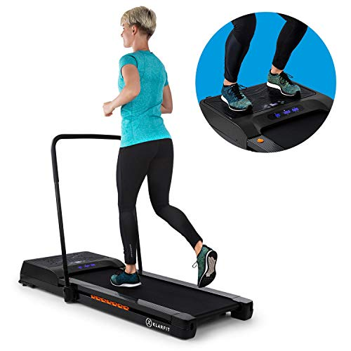 KLAR FIT Workspace Fusion Tapis de Course & Plaque vibrante - Tapis de Course: 1-12 km/h, Plaque vibrante: 1,5PS, 58,6Hz, autolubrification, App Control, Bluetooth, Enceinte BT, Noir
