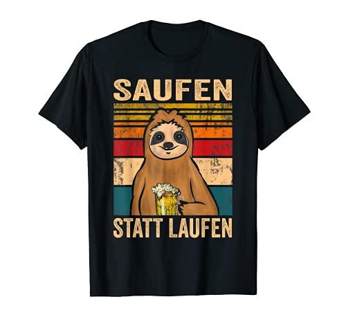 Herren Saufen statt Laufen Vintage Faultier Papa Vatertag Geschenk T-Shirt
