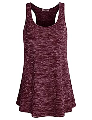 Cestyle Tank Tops for Women, Female 2019 Summer Fashion Workout Clothes Scoop Neck Sleeveless Comfy Top Relaxed Fit Racerback Running Shirts Wine Large