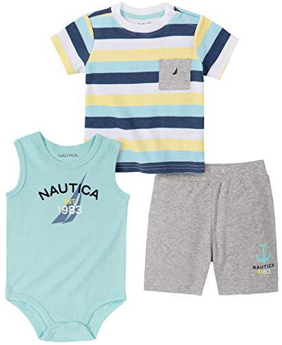 Nautica Sets (KHQ) Baby Boys' Bodysuit Shorts Set, Aqua/Gray, 3-6 Months