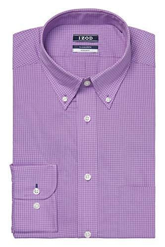 IZOD Men's Dress Shirts Regular Fit Stretch Gingham, English Violet, 16'-16.5' Neck 34'-35' Sleeve (Large)
