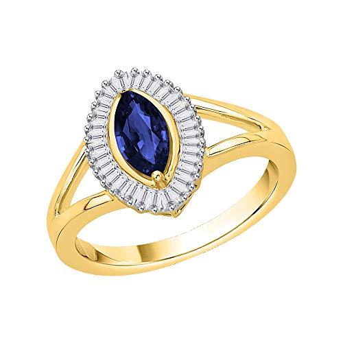 KATARINA Anillo de compromiso de diamantes y zafiros de talla baguette en oro de 14 k (1 1/10 cttw, J-K, SI2-I1)
