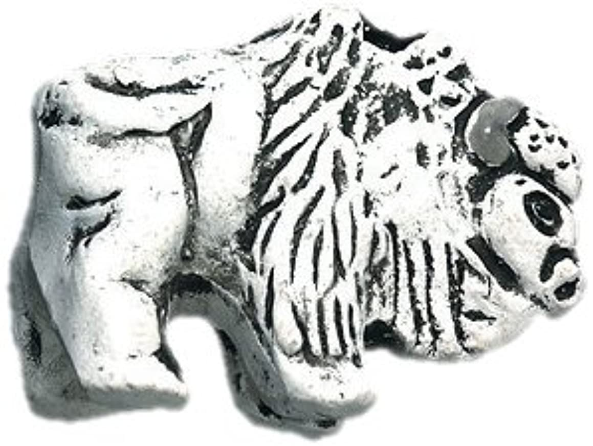 Shipwreck Beads 19 by 25mm Peruvian Hand Crafted Ceramic Buffalo Beads, White, 3 per Pack
