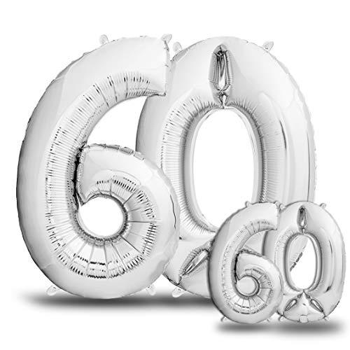 envami Luftballons 60. Geburtstag XXL Silber - Riesen Folienballon in 2 Größen 40