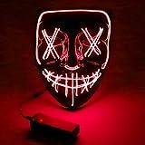 Halloween Maske, 3X Lichteffekten LED Purge Maske im Dunkeln Leuchtend, Halloween Grsel Maske 3...