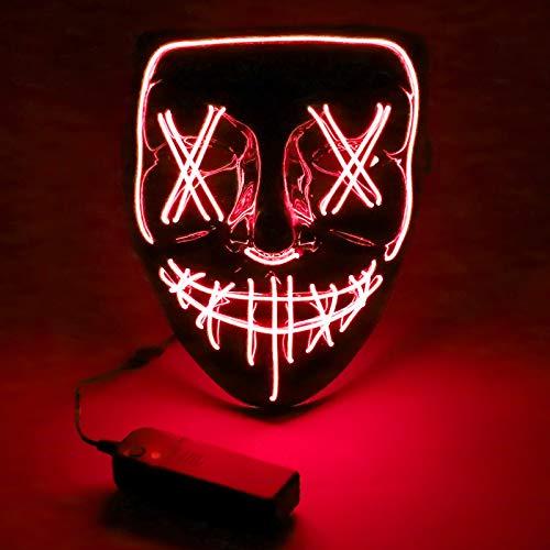 Halloween Maske, 3X Lichteffekten LED Purge Maske im Dunkeln Leuchtend, Halloween Grsel Maske 3 Blitzmodi für Erwachsene Fasching Karneval Kostümspiele Cosplays und Partys Männer und Frauen