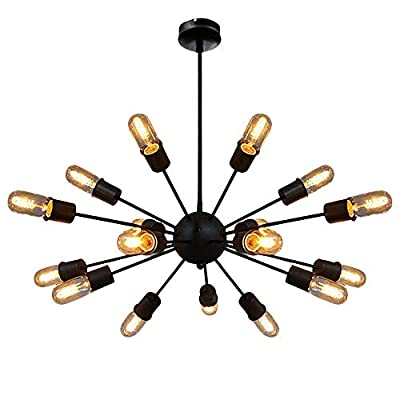 Vintage Farmhouse Chandelier Lighting-18 Lights Sputnik Chandelier Nordic Industrial Pendant Spider Ceiling Lights for Dining Room/Bedroom/Living Room/Study Room(Black)
