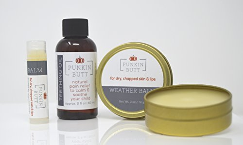 Punkin Butt Teething Oil and Weather Balm Set - Fight Teething Pain and Dry Chapped Skin from Drool Rash
