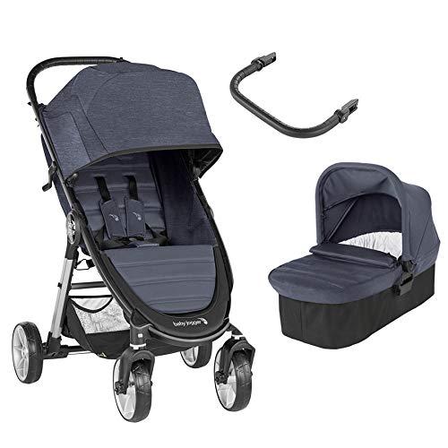 Baby Jogger City Mini 2 Duo Carbón - Cochecito compacto de 4 ruedas + capazo + barra delantera en color carbón