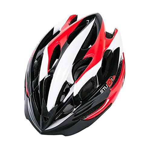Einteiliger Anti-Insektennetz-Reithelm Mountainbike-Helm für Männer und Frauen-M-Code schwarz rot weiß_M (55-58)