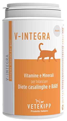 V-Integra Integratore Gatto Adulto Made in Italy 200 Gr Vitamine Dieta Casalinga Naturale Ossa Pelliccia Cartilagini più Sani Migliore Mobilità