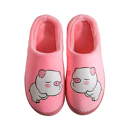 Ladies' Cosy Memory Foam Slippers, Luminous Slippers with Warm Fuzzy Faux Fur Lining, Home Slippers Anti-Slip Rubber Sole for Indoor/Outdoor