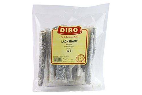 DIBO Lachshaut, 50g-Beutel, der kleine Snack oder Leckerli für Zwischendurch, Hundefutter von DIBO