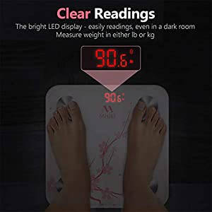 Bluetooth Body Fat Scale, Misiki Smart BMI Scale Wireless Digital Bathroom Weight Scale with iOS Android APP, Unlimited Users, Auto Recognition Body Composition Analyzer Fat, BMI, BMR, Muscle Mass