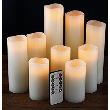 Flameless Candles, Led Candles Set of 9(H 4  5  6  7  8  9  xD 2.2 ) Ivory Real Wax Battery Candles With Remote Timer by (Batteries not included)
