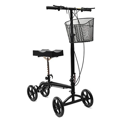 Clevr Medical Foldable Adjustable Steerable Knee Walker Scooter with Dual Brake System & Basket for Foot Injuries or Surgery, Alternative to Crutches, Black