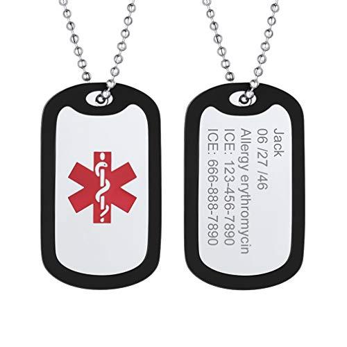 Silicona Collar Medical Personalizable de Cruz Roja Colgante Rectangular Acero Inoxidable Plateado con Cadena de Bolitas Joyería útil para Enfermos Niños Ancianos