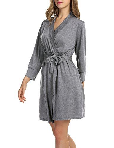 UNibelle Damen Morgenmantel 3/4 Ärmel Bademantel Kimono Baumwolle Saunamantel Robe Negligee Mit V-Ausschnitt, 1-hellgrau, S