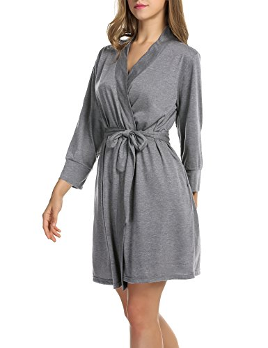 Hotouch Women Soft Cotton Bathrobe Lightweight Lounge Robe Heather Gray XL