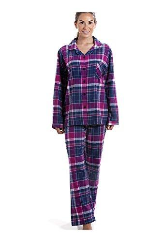 Pijama Largo con Cierre Frontal Abotonado - Franela - Estampado a Cuadros - Morado y Azul Marino