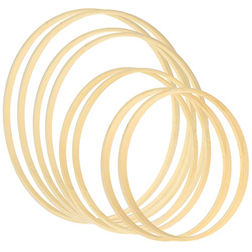 Sntieecr 8 Pack 4 Sizes Bamboo Floral Hoop Wreath Wooden Macrame Bamboo Rings Dream Catcher Craft Hoop Set for DIY Christmas Hoop Wreath and Wall Hanging Crafts (5 inch/ 6 inch/ 8 inch/10 inch)