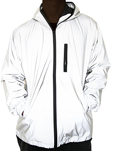 NewL 360 Reflektierende Herrenjacke Unisex Full Reflective Jacke Laufjacke Atmungsaktiv Winddicht Wasserabweisend Reflekierend, Grau, S
