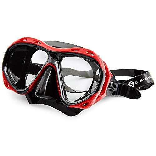 Sportastisch Taucherbrille Top Design¹ Redfish mit Case, wasserdichte Antibeschlag Tauchmaske für Erwachsene, Premium Vollgesichtsmaske mit bis zu 3 Jahren Garantie² (schnorchelset schnorchel)