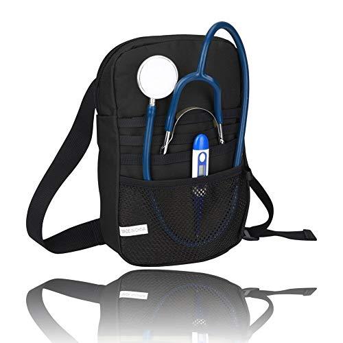 Nursing Bags, Nurse Fanny Pack, Medical Belt Utility Kit, Nursing Tools Pocket Organizer, Nurse Waist Pouch Hip Bag,600D Oxford Fabric, 7 Pockets,43.3Inches Adjustable Belt (Black)