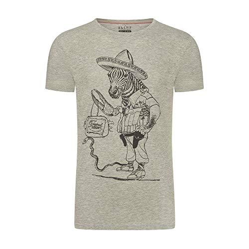 Blend Herren T-Shirt Tee Kurzarm Shirt Mit Rundhalsausschnitt O-Neck Print, Größe:XL, Farbe:Grau
