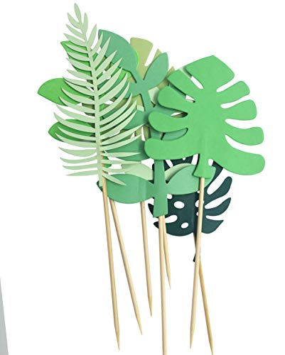 Tropical Palm Leaves Cake Topper for Tropical Hawaiian Luau Themed Party Supplies